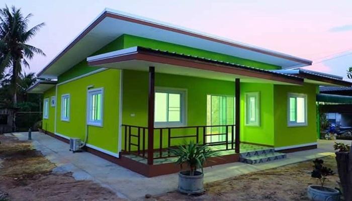 Photo of แบบบ้านชั้นเดียวสีโดนใจเขียวสดใส ขนาด 3 ห้องนอน 2 ห้องน้ำประมาณ 850,000 บาท