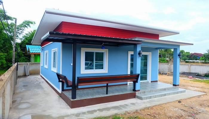 Photo of บ้านชั้นเดียวโทนสีฟ้าสดใส 2 ห้องนอน 1 ห้องน้ำ สำหรับคนงบน้อย ประมาณ 540,000 บาท