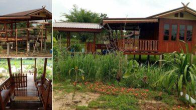 Photo of บ้านไม้ยกพื้นสูง แบบไทยๆกลางทุ่ง แวดล้อมด้วยธ รรมชาติ และทุ่งนา