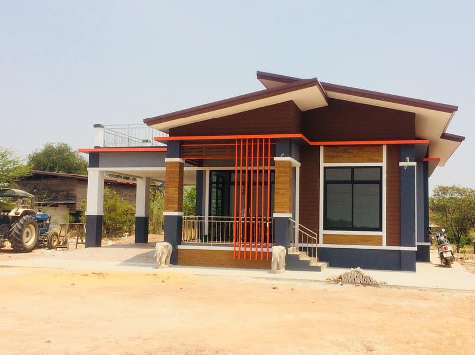 บ้านชั้นเดียวขนาด2ห้องนอน2ห้องน้ำ1ห้องโถง1ห้องครัวพร้อมโรงจอดรถ ด้วยงบ 950,000 บาท