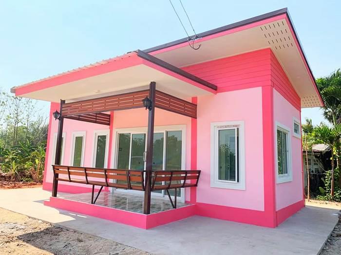Photo of บ้านโมเดิร์นชมพูหวาน ชั้นเดียว 2ห้องนอน1ห้องรับแขก1ห้องน้ำ พื้นที่52 ตร.ม เหมาะสำหรับคน ง บน้ อย