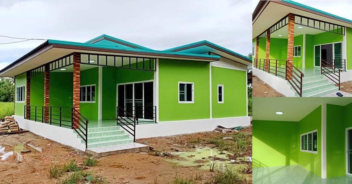 Photo of บ้านชั้นเดียวยกพื้น สไตล์โมเดิร์น สีเขียว 3ห้องนอน พื้นที่ 120 ตร.ม. งบประมาณ 780,000 บาท