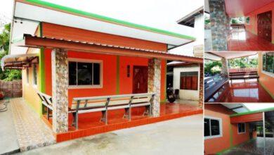 Photo of บ้านโมเดิร์นชั้นเดียวโทนสีส้มสดใส (60 ตร.ม.)ขนาด 2 ห้องนอน งบประมาณ 4.3 แสนบาท