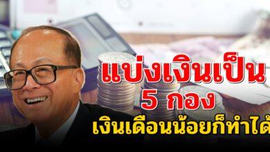 Photo of เศรษฐีเบอร์ 1 ของเอเชีย สอนวิธีใช้เงิน 5กอง เงินเดือนน้อยก็ทำได้
