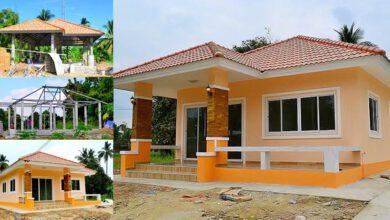 Photo of บ้านสวยโทนสีส้ม ชั้นเดียว สร้างในรๅคๅ 6.5 แสนบาท แบบ 2 ห้องนอน 1ห้องน้ำ น่าอยู่มาก