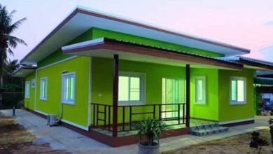 Photo of แบบบ้านชั้นเดียวสีโดนใจเขียวสดใส ขนาด 3ห้องนอน 2ห้องน้ำประมาณ 850,000 บาท