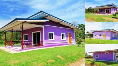 Photo of บ้านโมเดิร์นชั้นเดียว โทนสีม่วงสด 1ห้องนอน 1ห้องน้ำ ง บ 5แสนกว่า