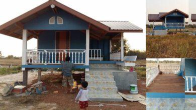 Photo of บ้านสวนสไตล์ชนบท สีฟ้าหลังคาจั่ว สวยสงบ จบที่ 96,000 บาท