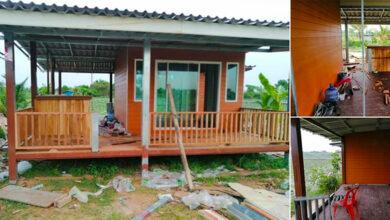 Photo of บ้านไม้กลางทุ่งยกพื้นต่ำ กะทั ดรัด บรรยากาศใกล้ชิดธ ร รมชาติ น่าอยู่